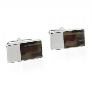 STERLING SILVER CUFFLINKS WITH MOSAIC AMBER