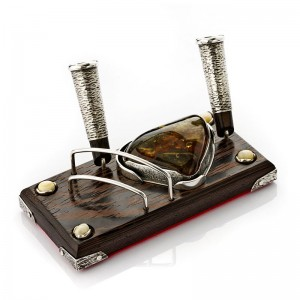 AMBER, WENGE & SILVER BUSINESS CARDS HOLDER