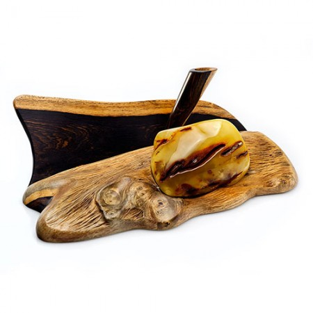 BUTTERSCOTCH AMBER & WHITE EBONY BUSINESS CARDS HOLDER