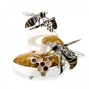 BEES SILVER AMBER BUSINESS CARDS HOLDER