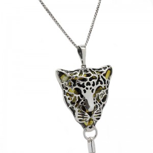 AMBER SILVER PENDANT NECKLACE LEOPARD