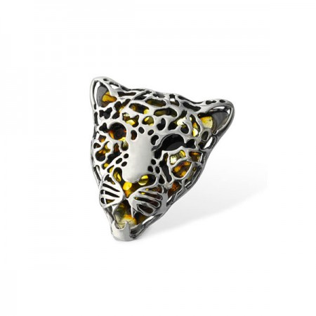 Amber Silver Ring Leopard