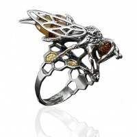 BEE AMBER SILVER RING
