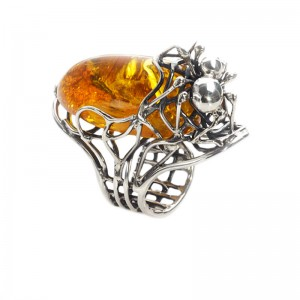 SPIDER AMBER SILVER RING