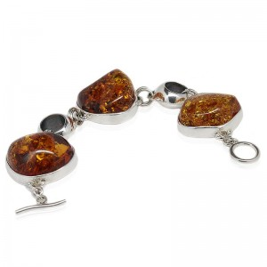 Three Amber Nuggets Silver Bracelet
