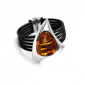 Oval Amber in Silver Triangle Bracelet
