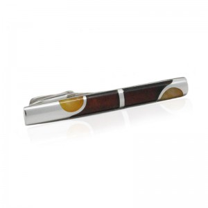 DOTTED AMBER STERLING SILVER TIE CLIP