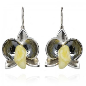 AMBER FLOWER SILVER EARRINGS