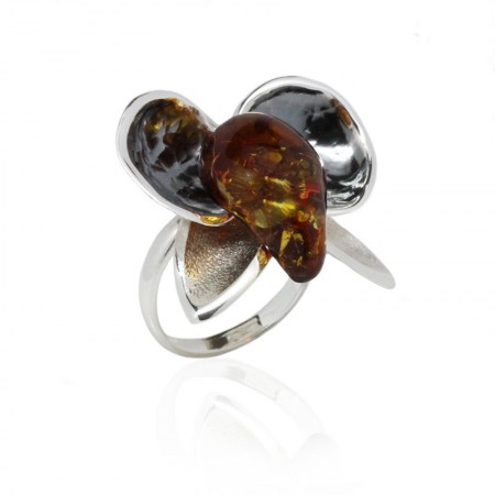 AMBER FLOWER SILVER RING