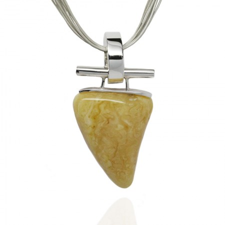 Natural Butterscotch Amber Silver Ring Necklace