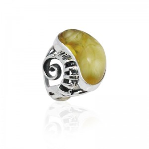 SNAIL AMBER SILVER RING