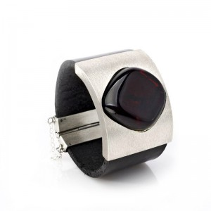 Amber, Square Silver Base and Leather Bracelet