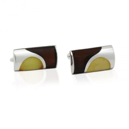 DOTTED AMBER STERLING SILVER CUFFLINKS