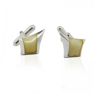AMBER SPIKE STERLING SILVER CUFFLINKS