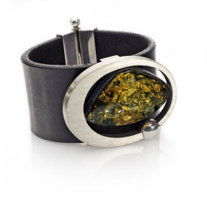 Amber, Silver Oval and Leather Bracelet