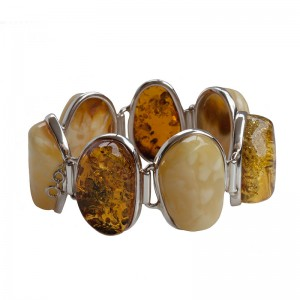 MIXED CLASSIC AMBER NUGGETS SILVER BRACELET