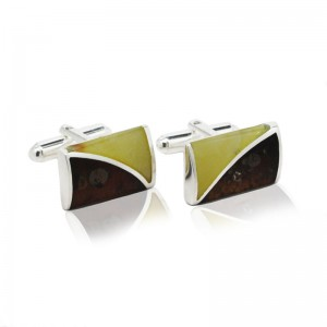 SPLIT AMBER STERLING SILVER CUFFLINKS