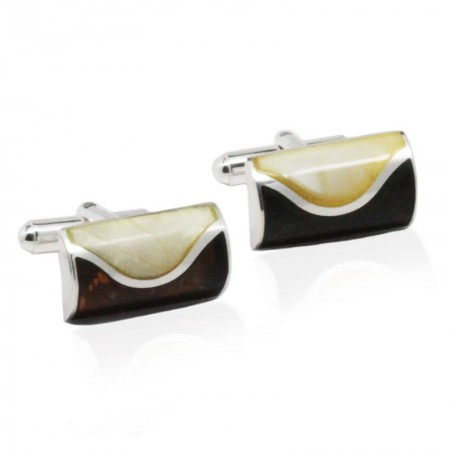 Waves Cognac Amber Sterling Silver Cufflinks