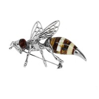LARGE BEE AMBER SILVER BROOCH