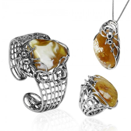 b425a1541 Luxury Amber Jewellery Set: Cuff, Pendant, Ring | Silver Jewellery