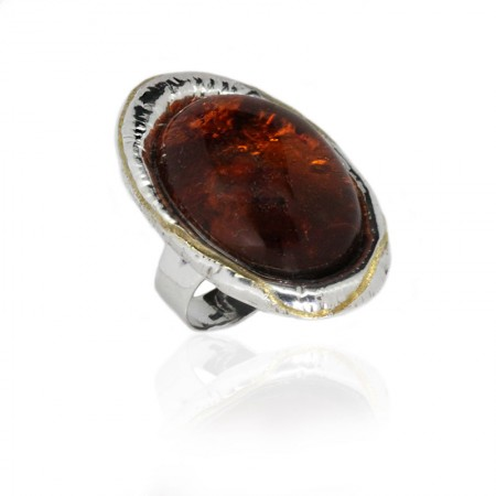 AMBER SILVER RING GOLD HALO