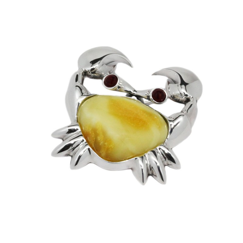 Crab Silver Brooch With Baltic Amber Amber Brooch