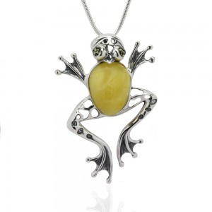 FROG AMBER SILVER PENDANT
