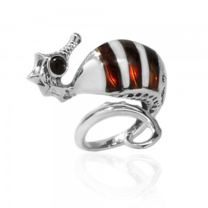 SEAHORSE AMBER SILVER RING