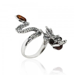 DRAGON AMBER SILVER RING