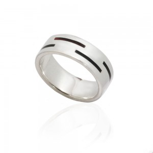 MEN'S SILVER RINGS AMBER SINGLE STRIPES