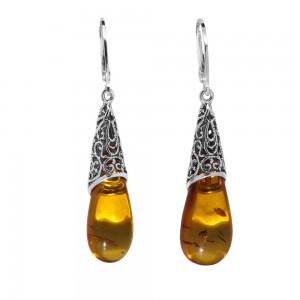 CELTIC MOTIFS AMBER SILVER DROP EARRINGS