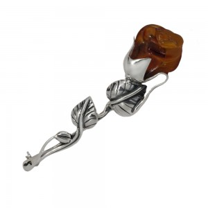 Rose Amber Silver Brooch