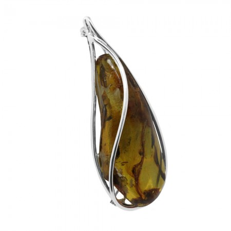 LARGE NATURAL AMBER SILVER BROOCH