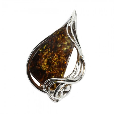 LARGE AMBER SILVER BROOCH WAVES