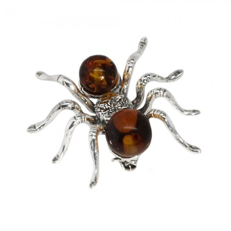 SMALL SPIDER AMBER SILVER BROOCH