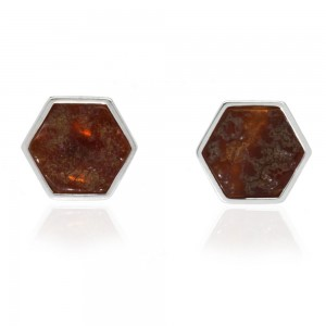 HONEYCOMB AMBER SILVER STUD EARRINGS