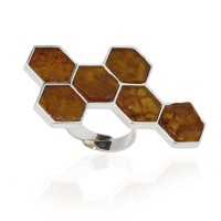HONEYCOMB AMBER SILVER RING