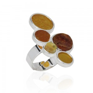AMBER DOTS SILVER RING