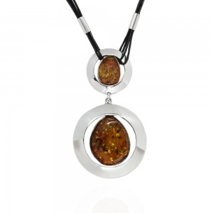 Amber and Round Silver Necklace