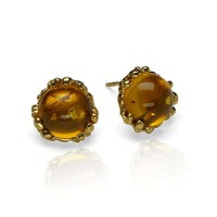 GOLD-PLATED AMBER DROPS STUD EARRINGS