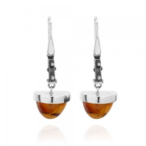 SPLIT LONG AMBER SILVER EARRINGS
