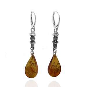 Amber Droplet and Silver Earrings