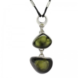 TWO DARK GREEN AMBER NUGGETS SILVER NECKLACE