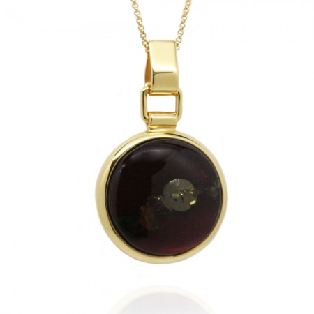 GOLD-PLATED REVERSIBLE AMBER PENDANT