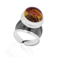 AMBER SILVER RING SMALL COSMOS