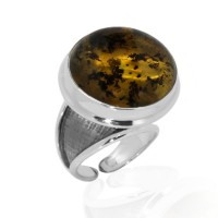 AMBER SILVER RING COSMOS