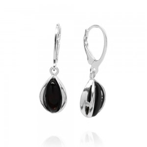 Amber Tears Silver Earrings