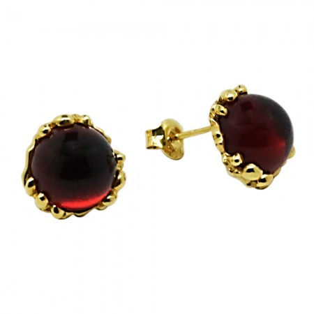 GOLD-PLATED AMBER STUD EARRINGS