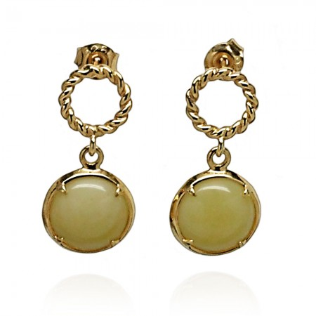 GOLD-PLATED HALO AMBER EARRINGS